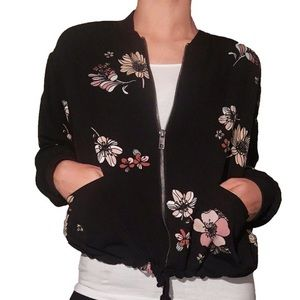 "Like new 'Who What Wear"" floral bomber jacket"